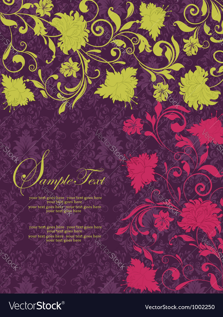 Purple damask invitation card