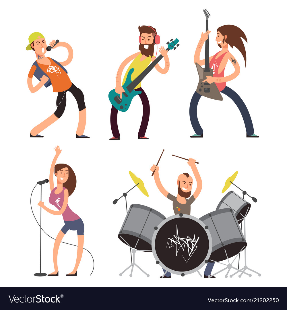 Rock musicians and singers isolated on white