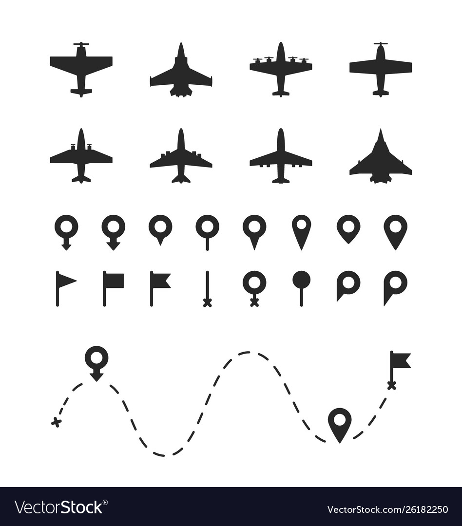 Set airplane and pin symbols different types
