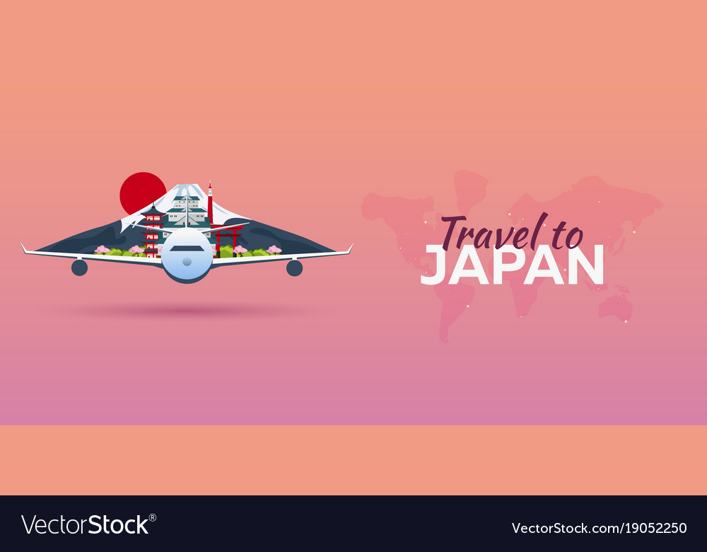 Travel to japan airplane with attractions travel vector image