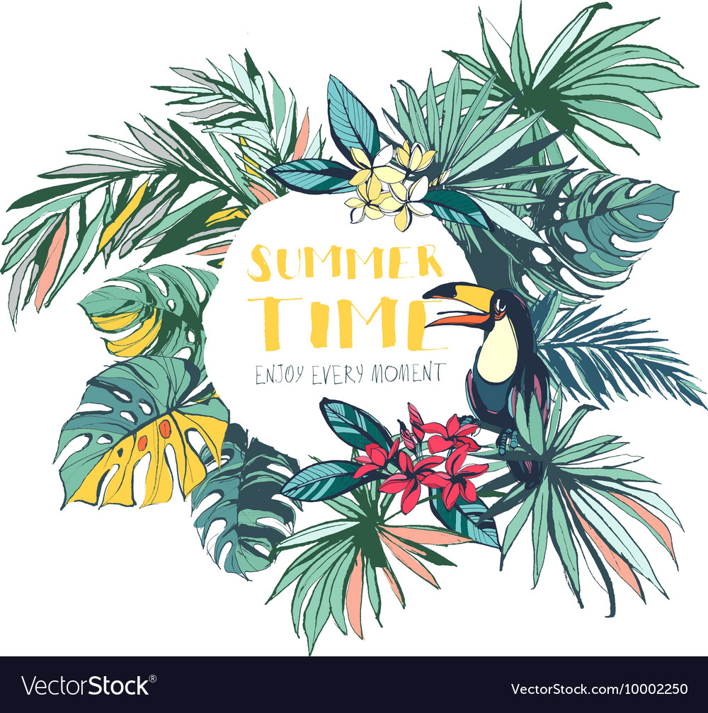 Tropical floral summer beach party invitation with