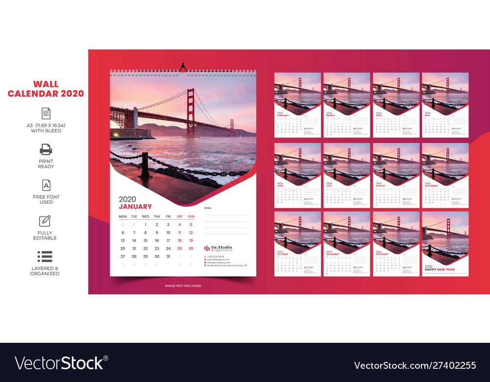 Download Free Wall Calendar 2020 PNG