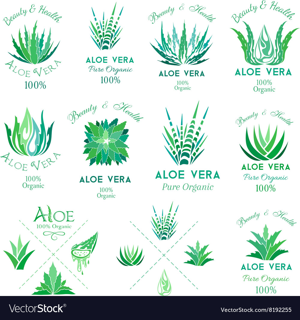 Aloe vera design elements Emblems collection