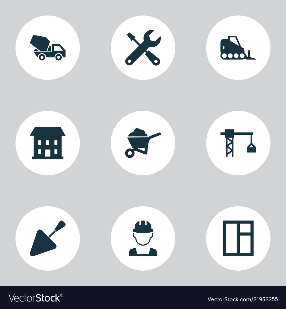 Architecture icons set with tower crane