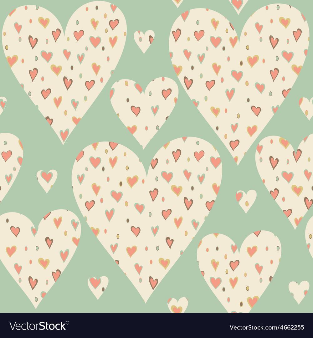 Cartoon hearts and circles seamless pattern