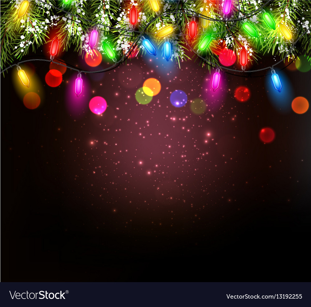 color christmas garland on vinous background vector image