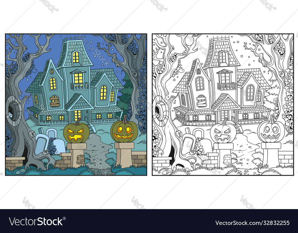 Halloween background with witch house color