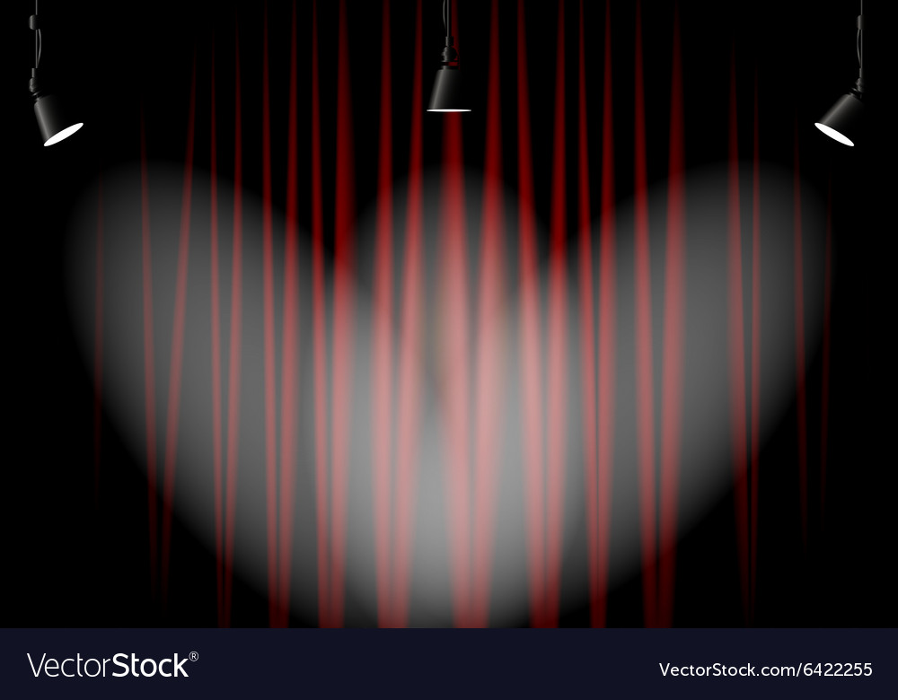 Lighting stage with red curtains
