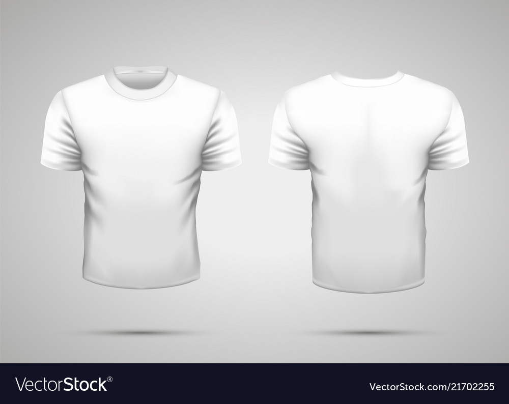 Mockup Of Blank Realistic White T Shirt With Vector Image