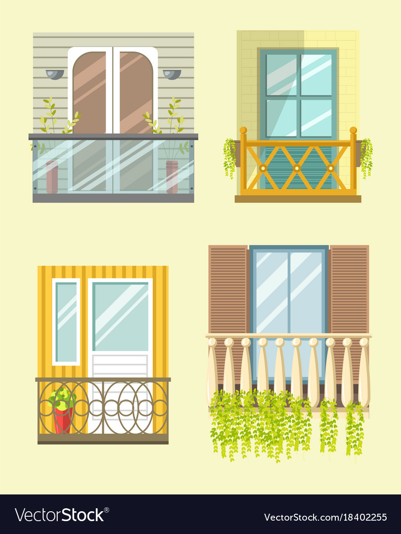 european style windows mediterranean nice tall broad windows in european style vector image