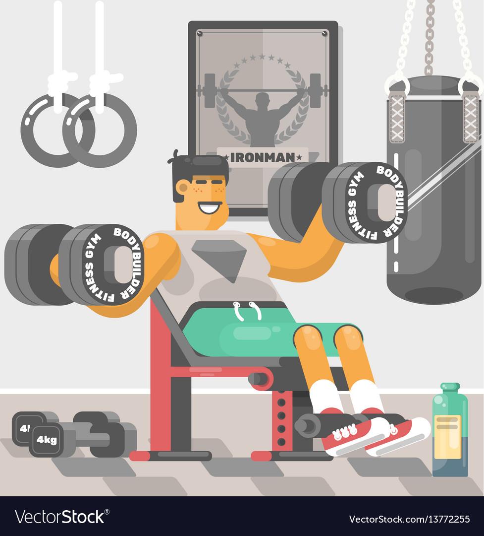 Strong bodybuilder sportsman weightlifter doing bi