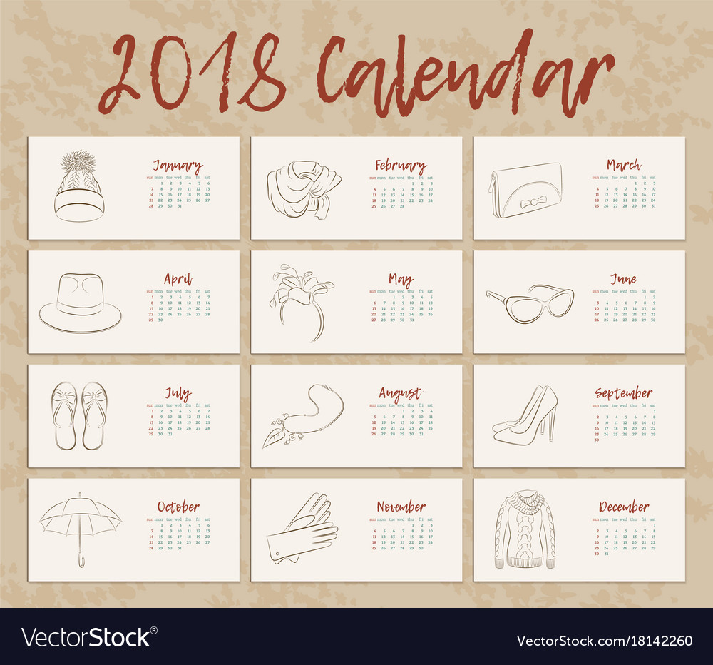 December Calendar Art : Year is a horizontal vintage calendar art vector image