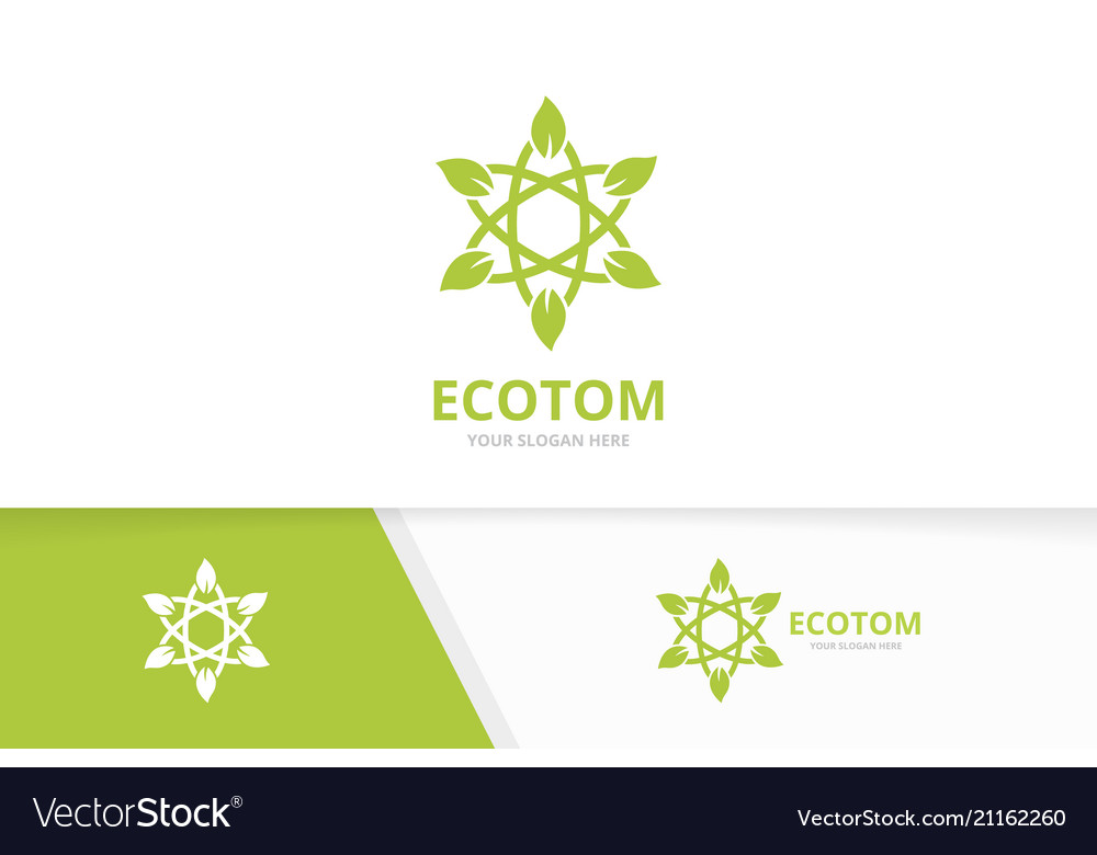 Atom and leaf logo combination molecule