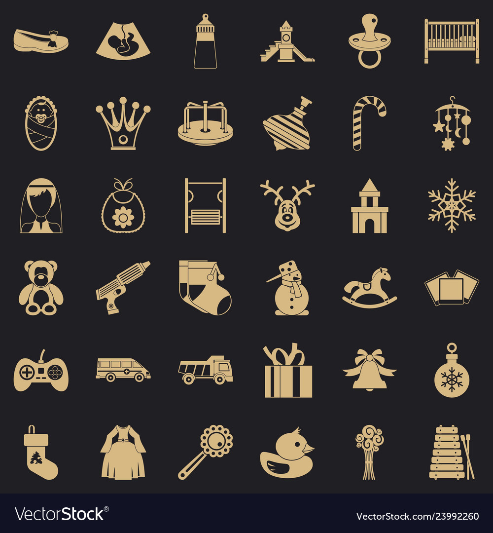 Baby icons set simple style