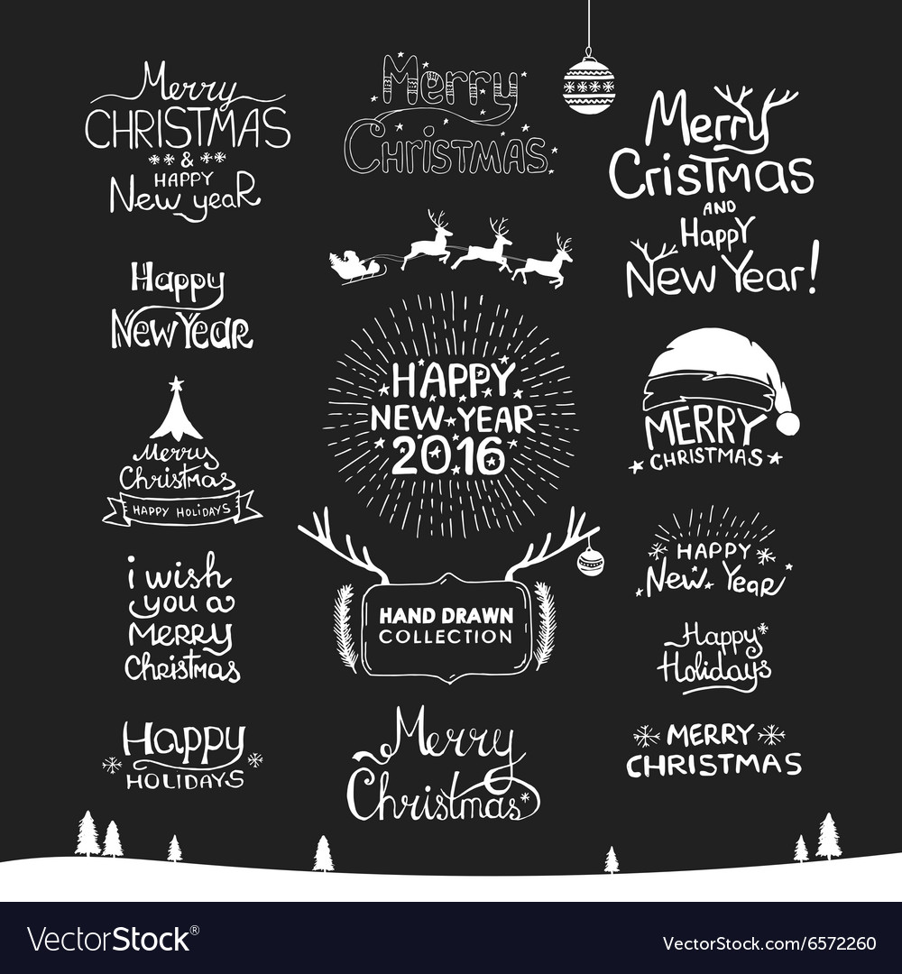 Christmas Happy New Year Calligraphic Hand drawing