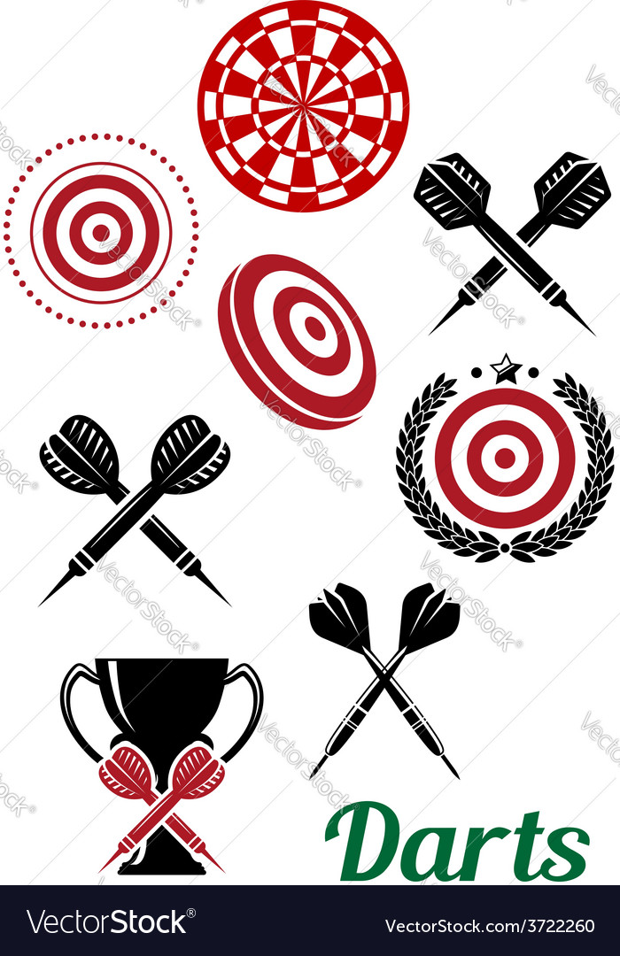 Darts sporting red and black design elements