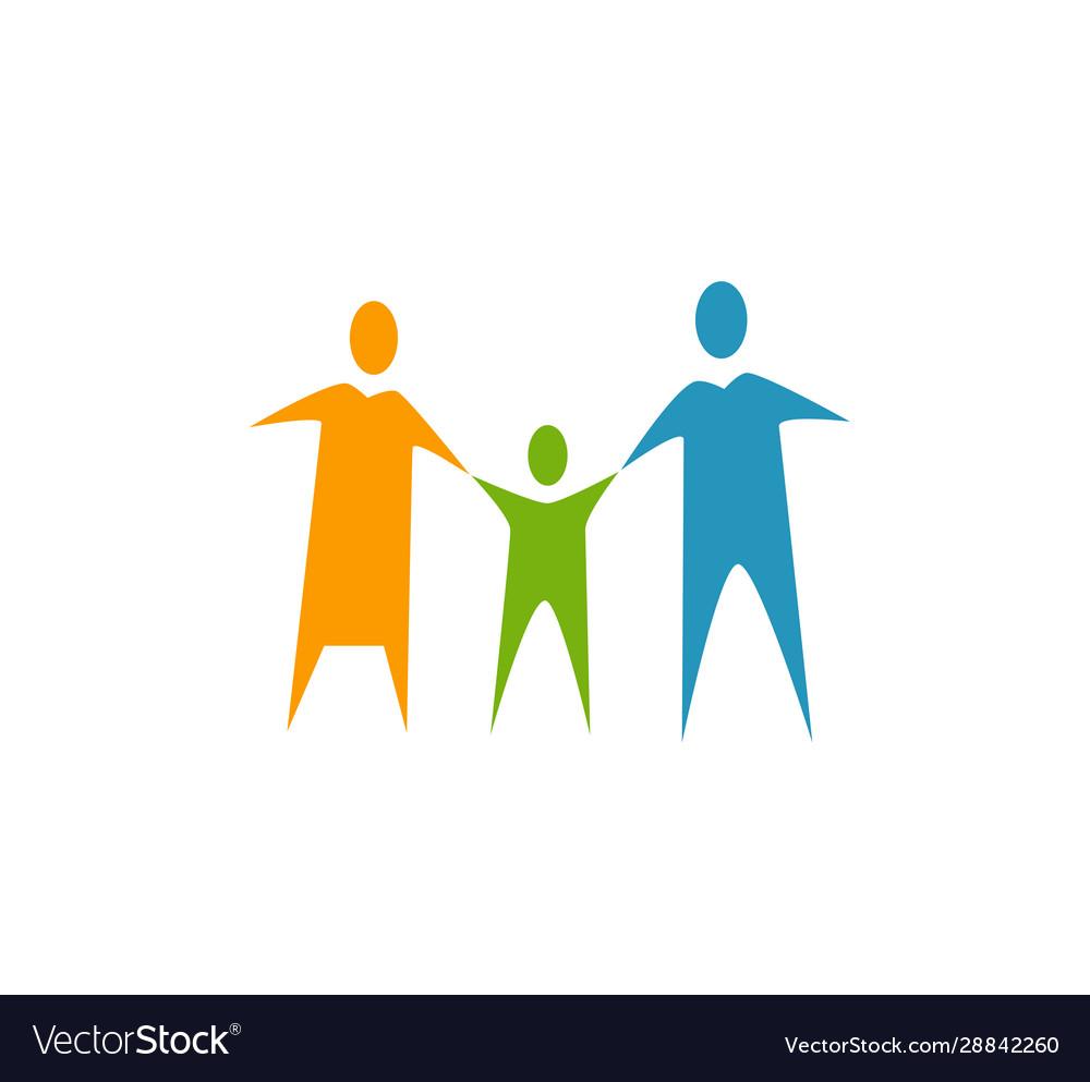 Happy family icon parents and balogo