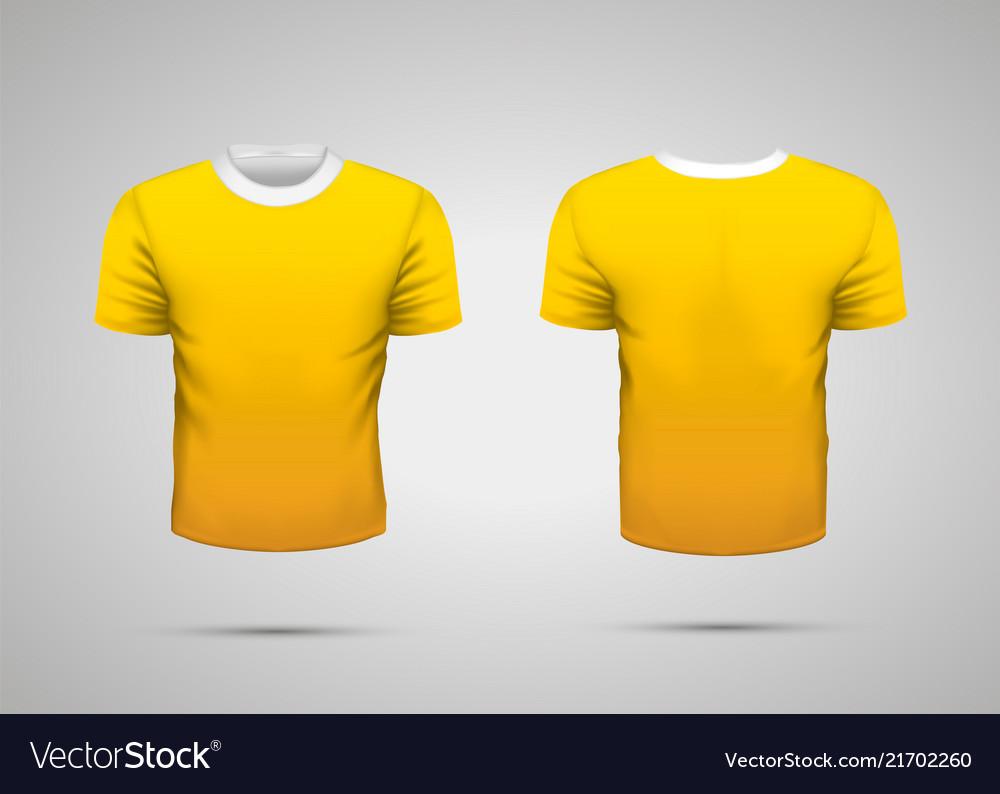 Mockup Of Blank Yellow Realistic Sport T Shirt Vector Image