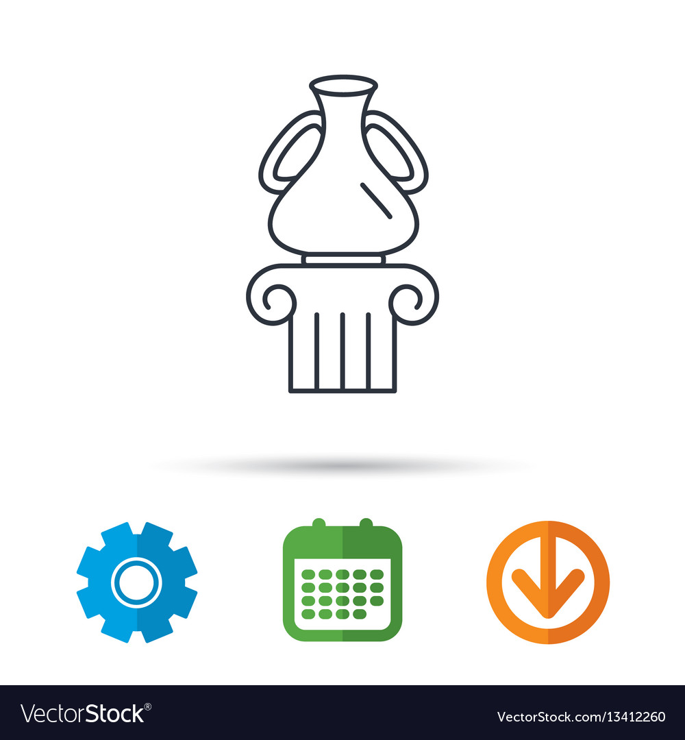 Museum icon antique vase on pillar sign vector image