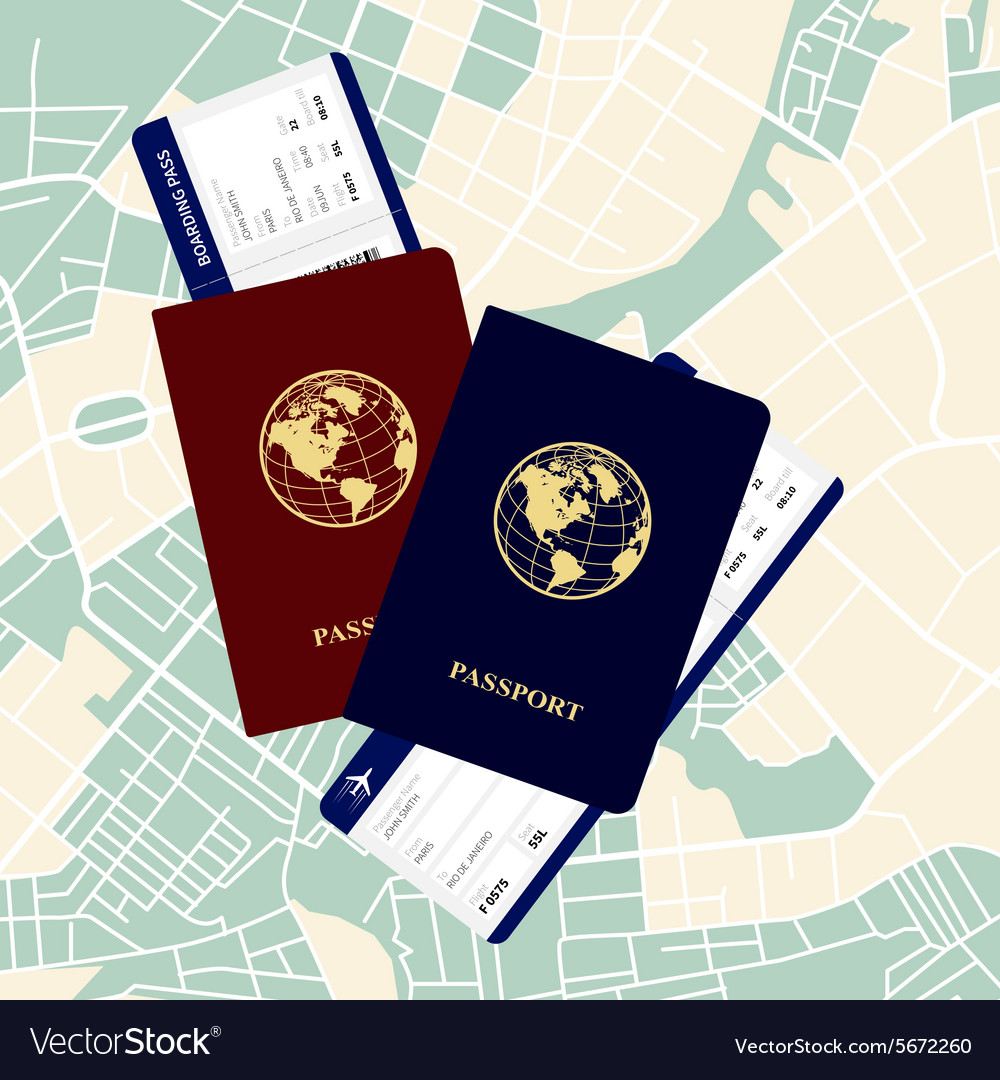 Passports tickets vector image