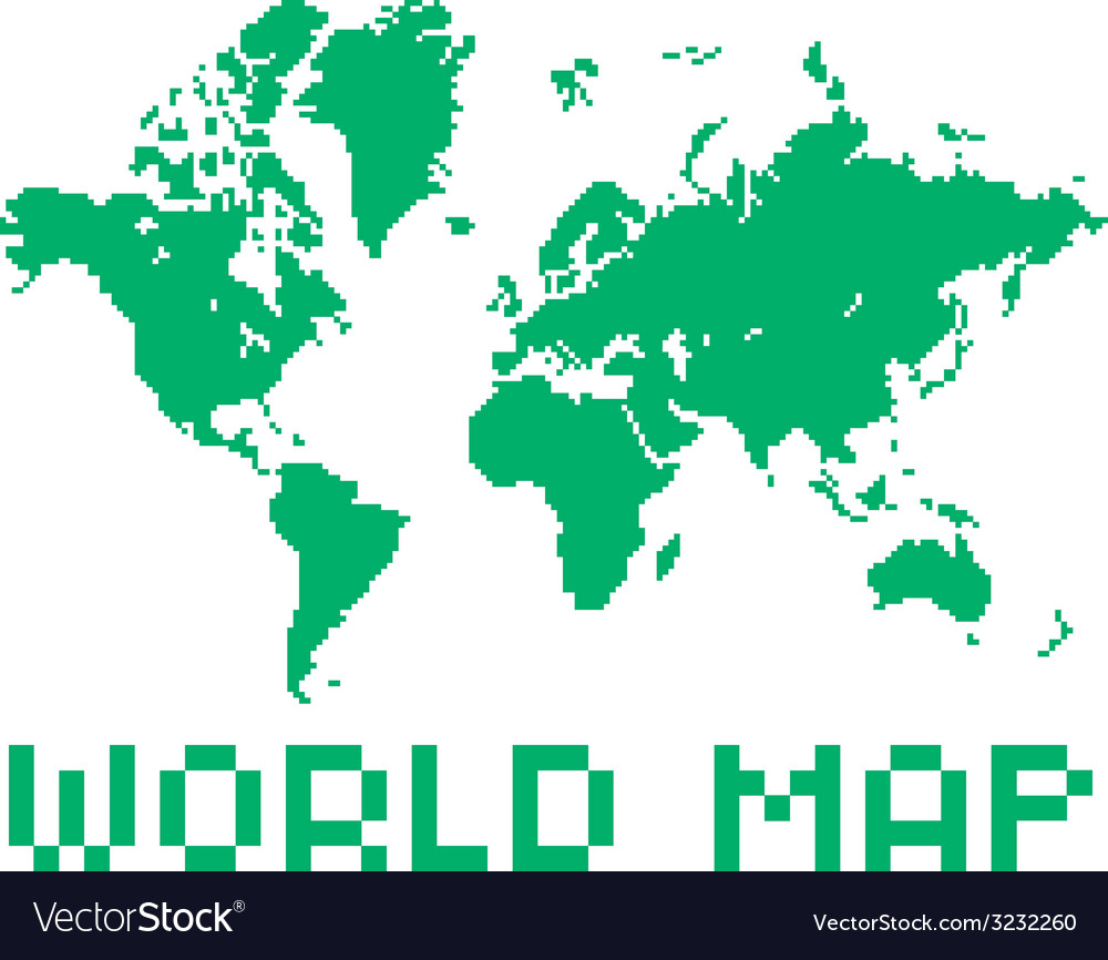 Pixel art style world map green color shape vector image gumiabroncs Images