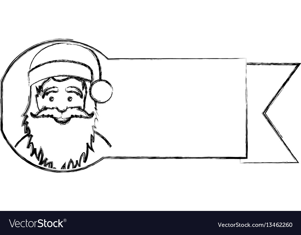 Silhouette blurred ribbon with face cartoon santa vector image