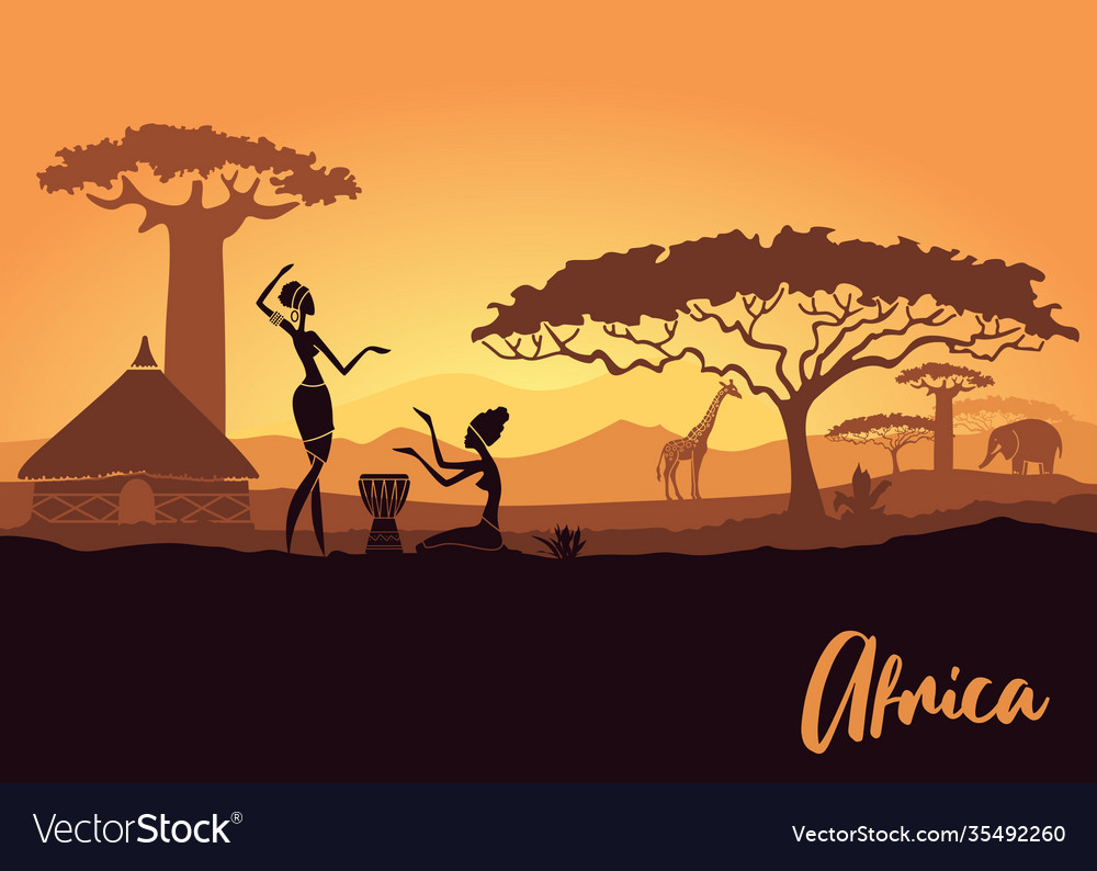 Tribal women on background an african