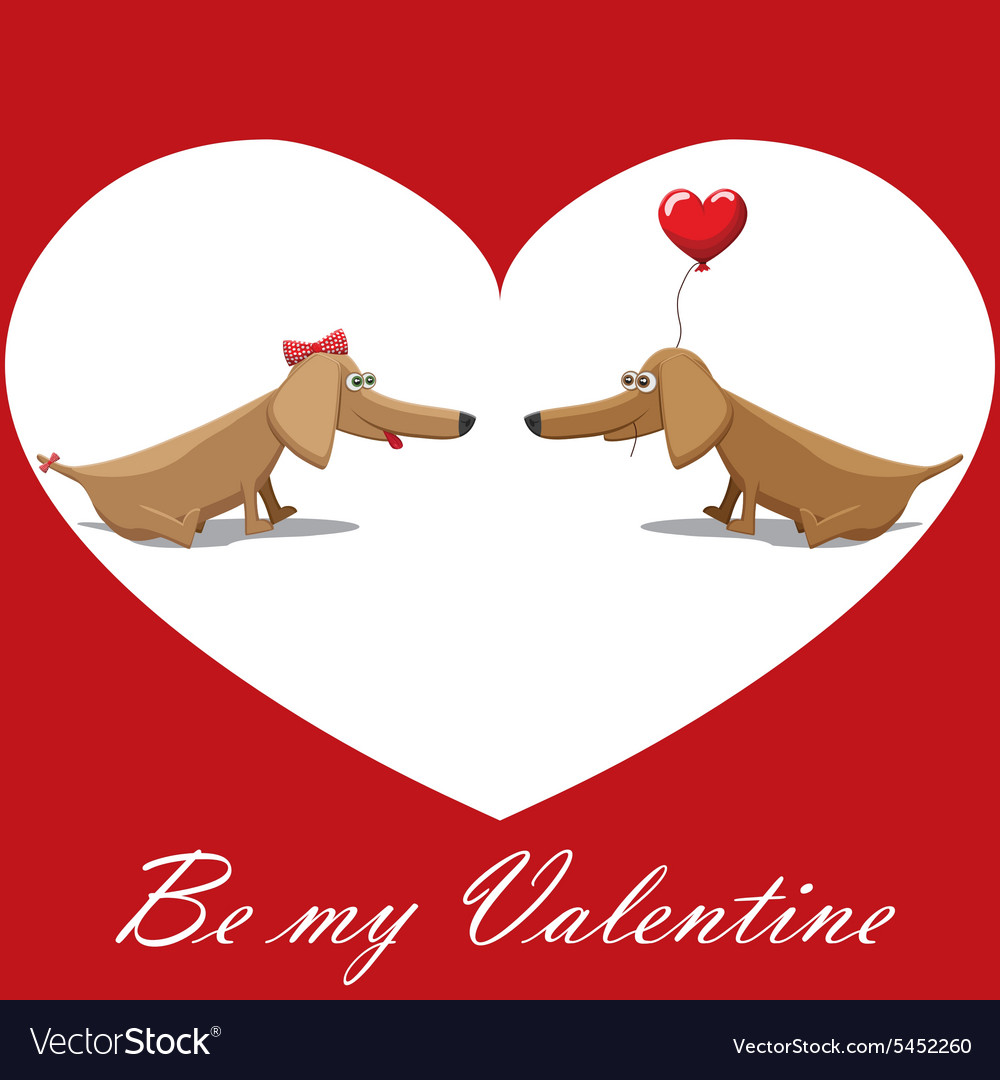 Valentines Day dog with balloons postcard text be