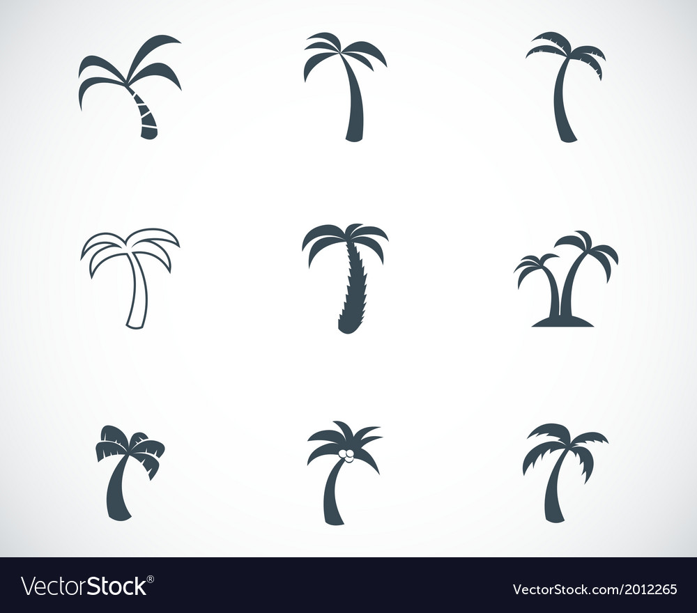 Black palm icons set