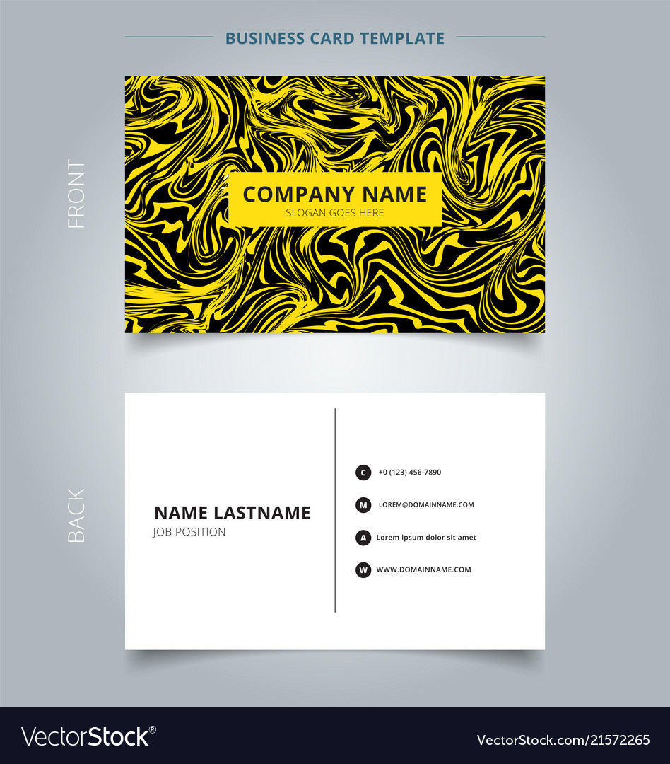 Business name card yellow marble texture on black