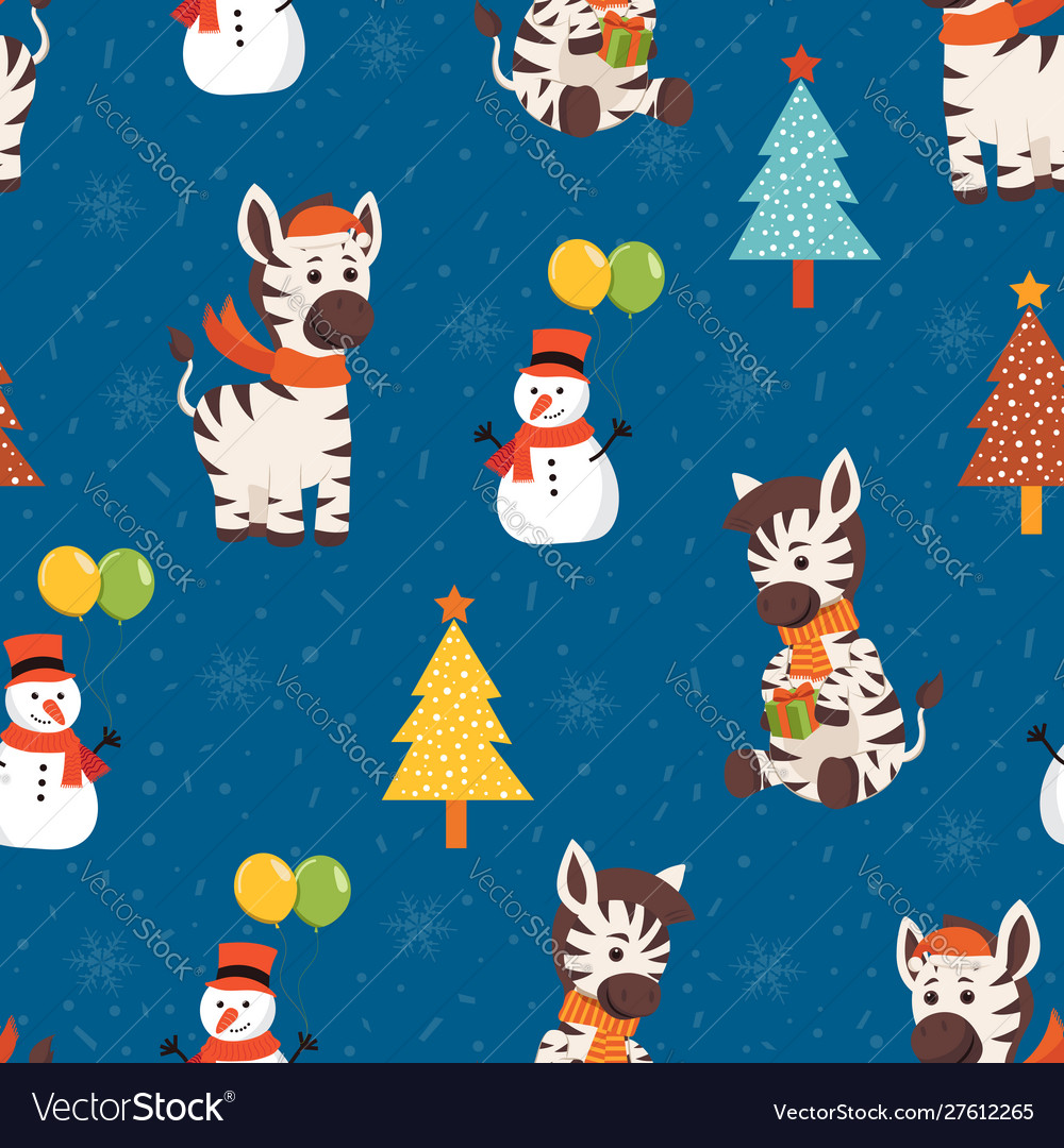 Christmas seamless pattern with zebra background