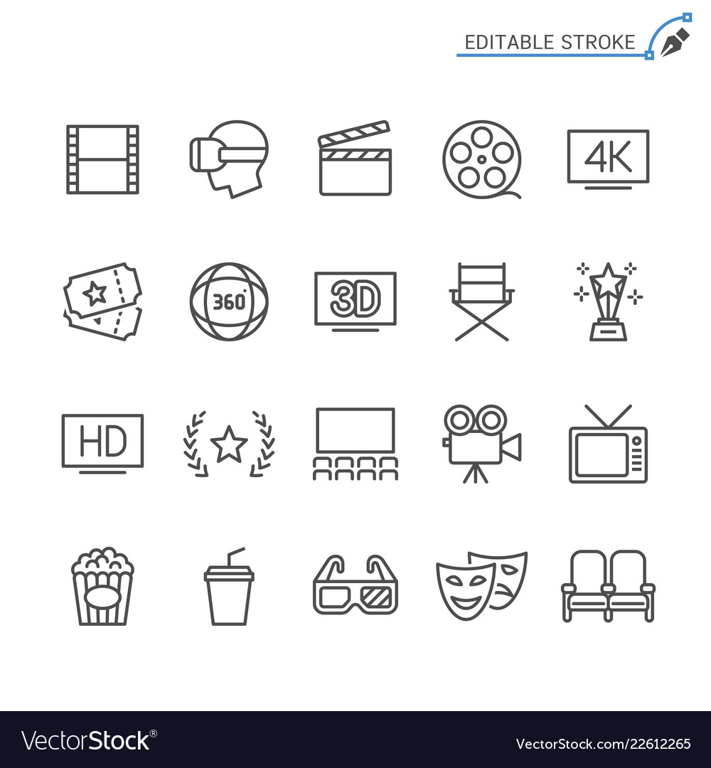 Cinema line icons editable stroke