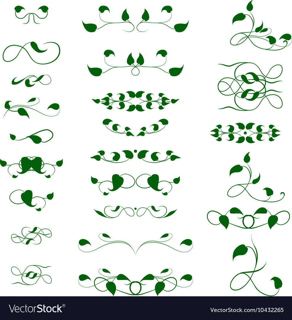 Collection of vintage decor for text decoration in vector image