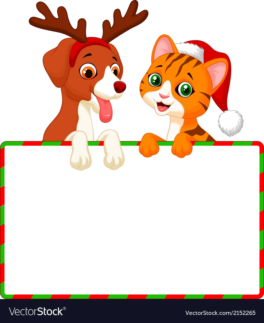 Cute cartoon cat and dog holding blank sign