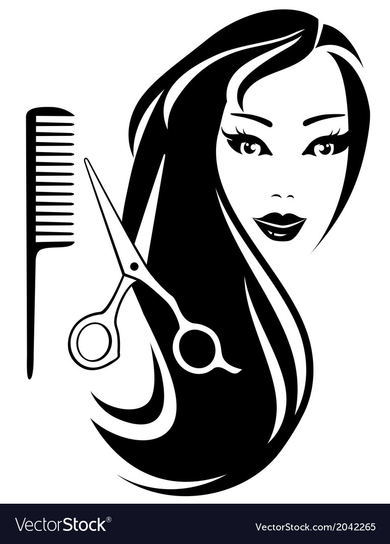 Girl with black long hair and scissors and comb vector image