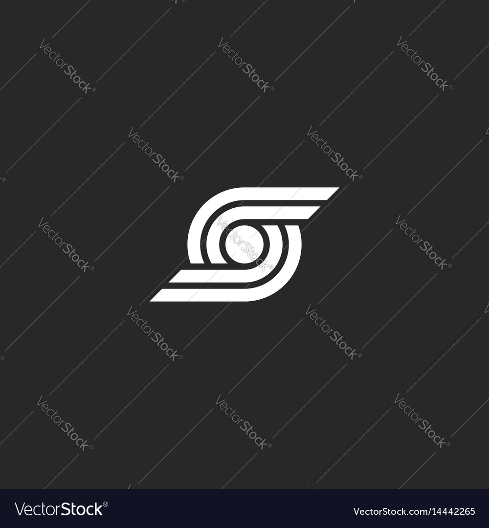 Letter s logo abstract wings and circle geometric