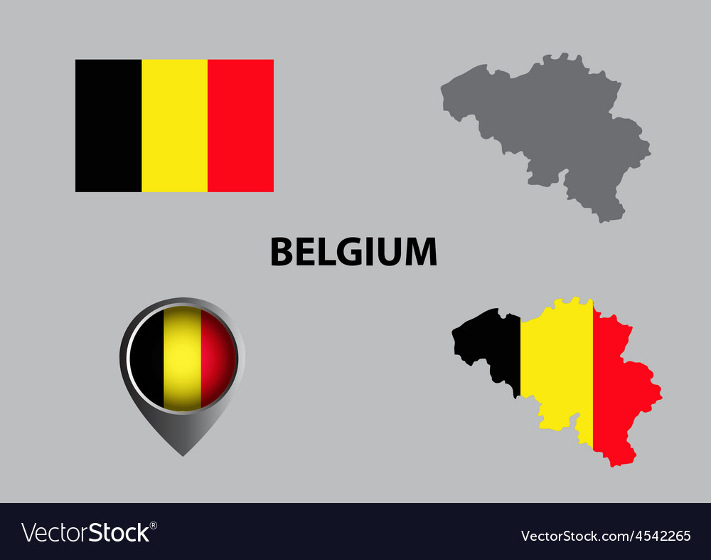 Map of Belgium and symbol vector image
