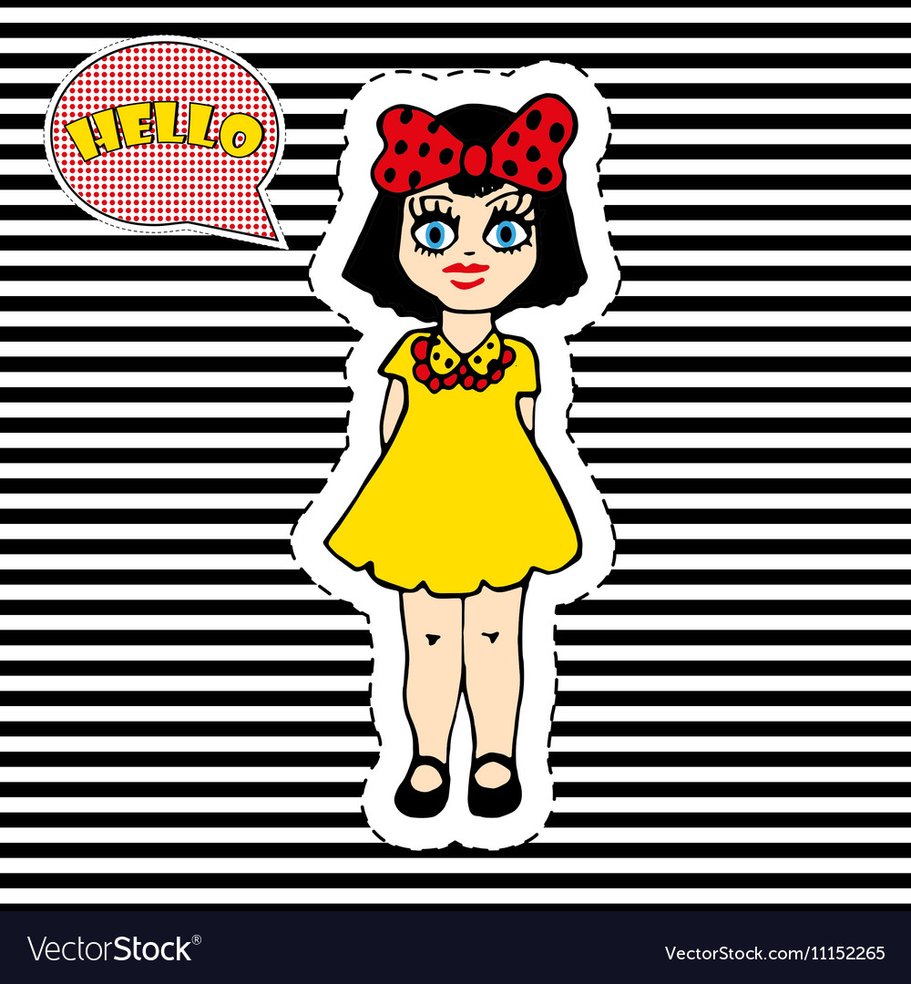 Pretty girl on striped background T-shirt design
