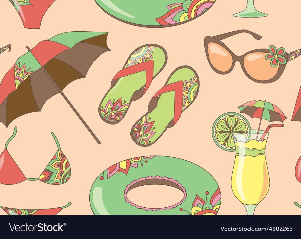 Seamless pattern with summer holidays seaside