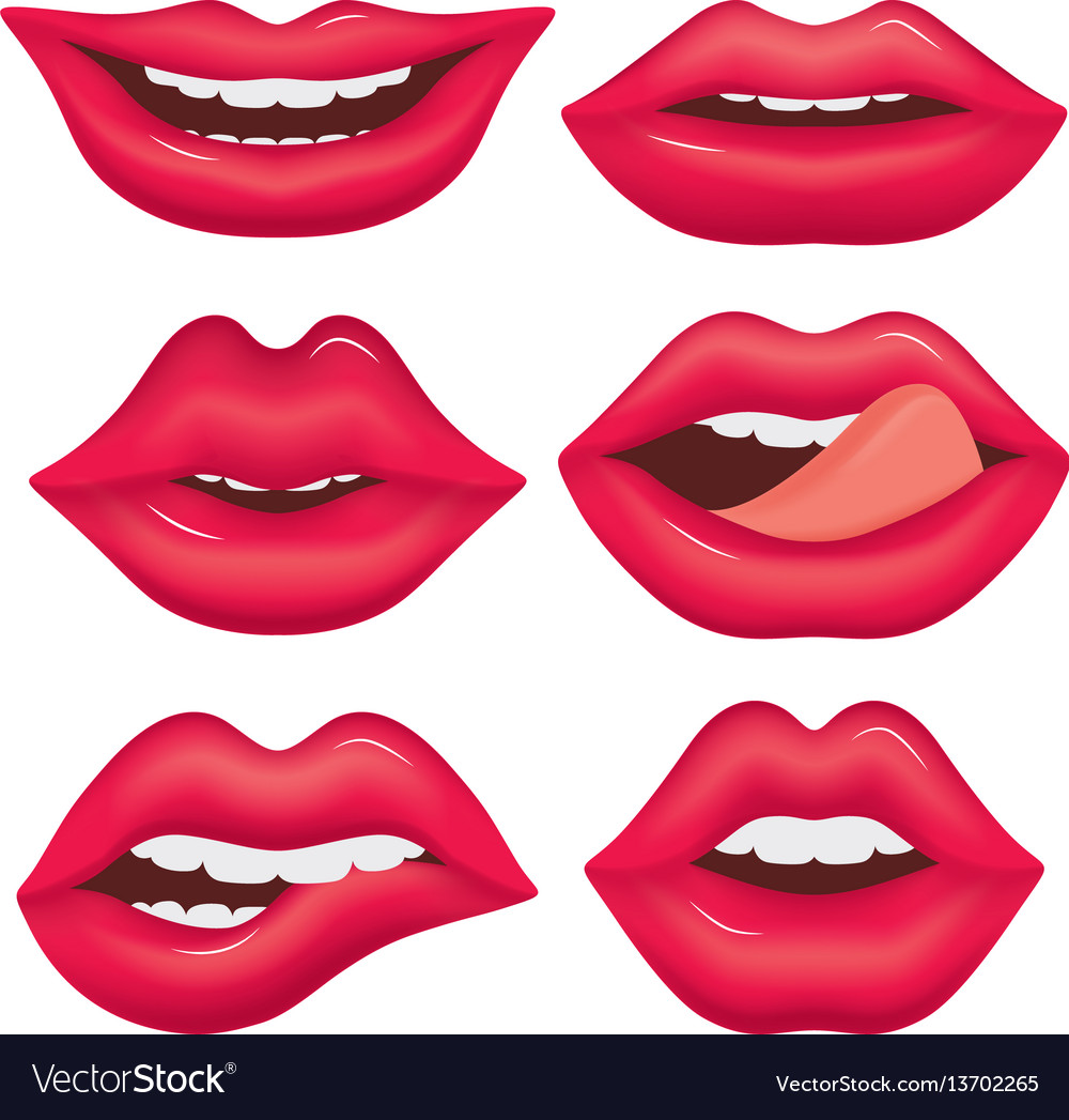 Set of female lips on a white background various