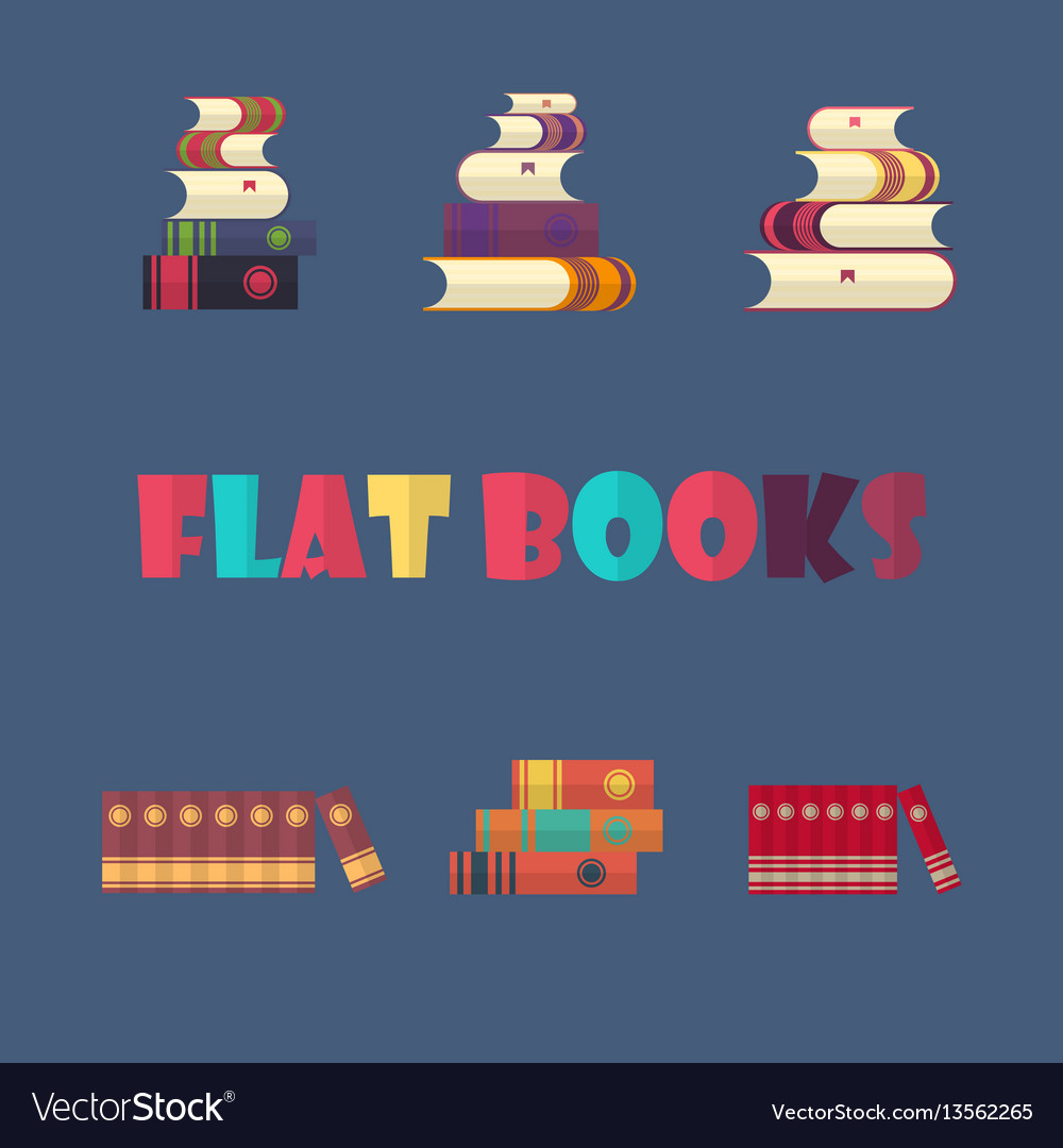 Set of stacked books in flat design style