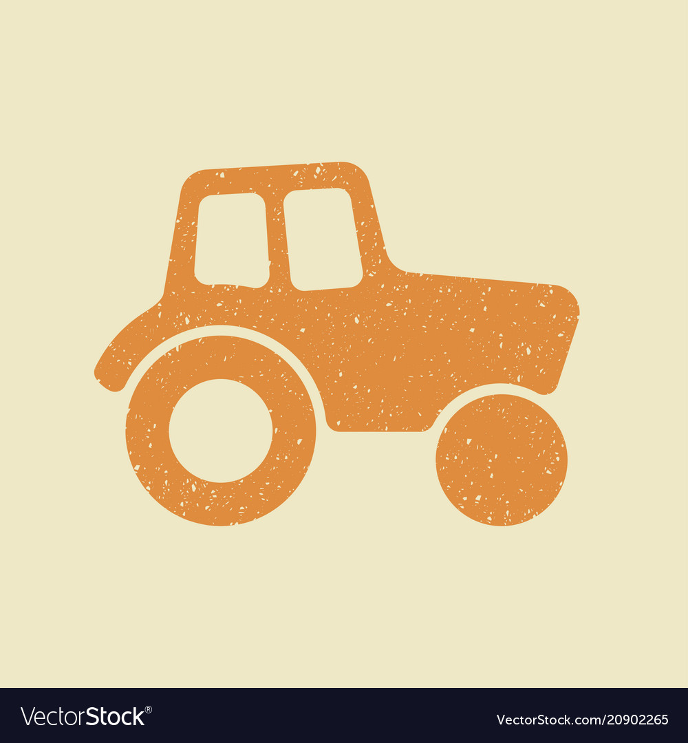 Tractor icon in grunge style