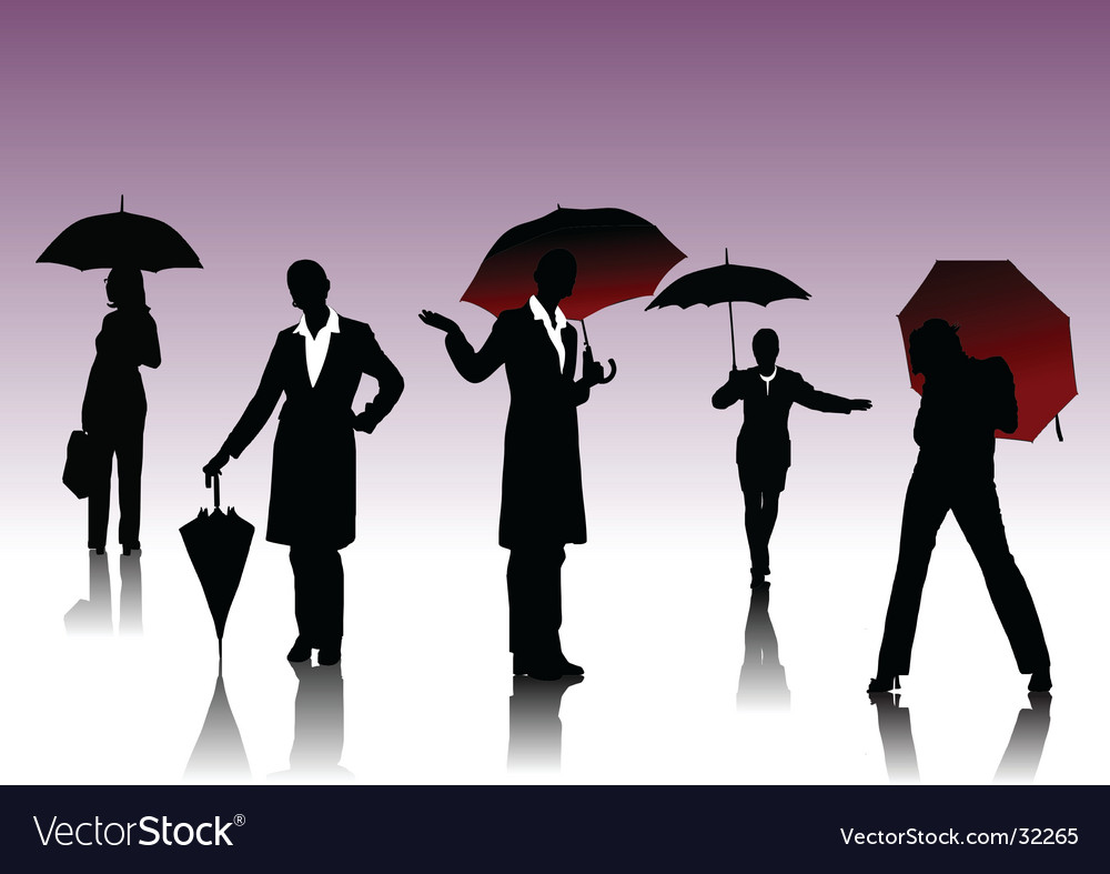 Women silhouettes with umbrella vector image