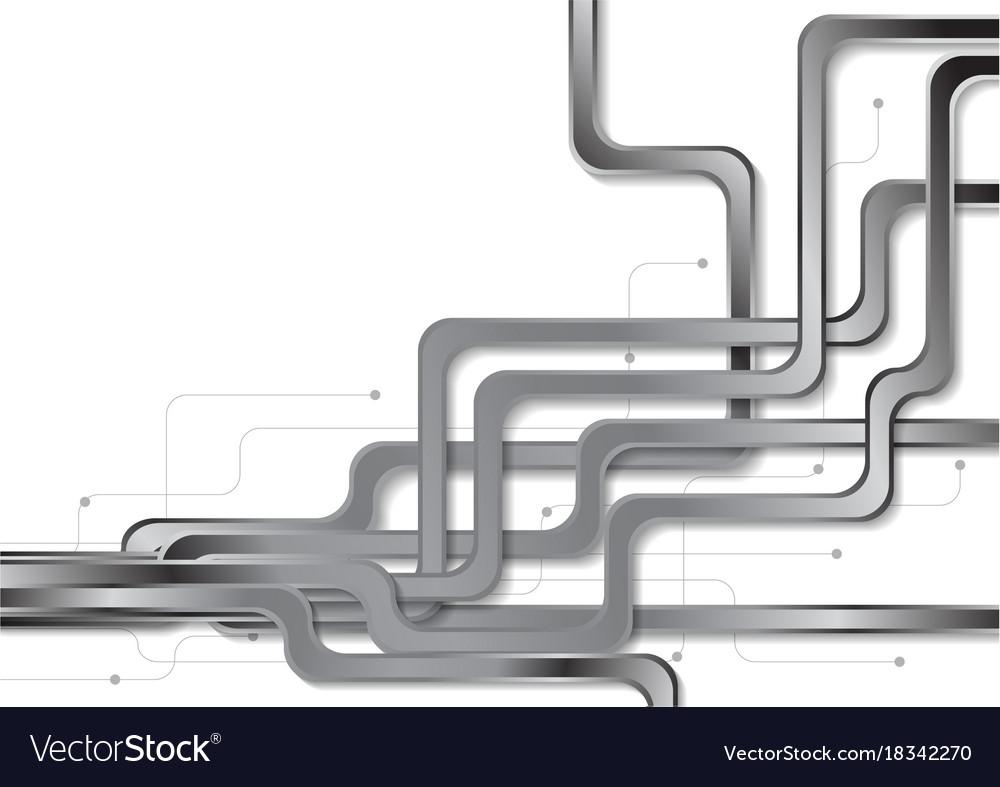 Abstract Tech Metallic Circuit Board Background Vector Image Design