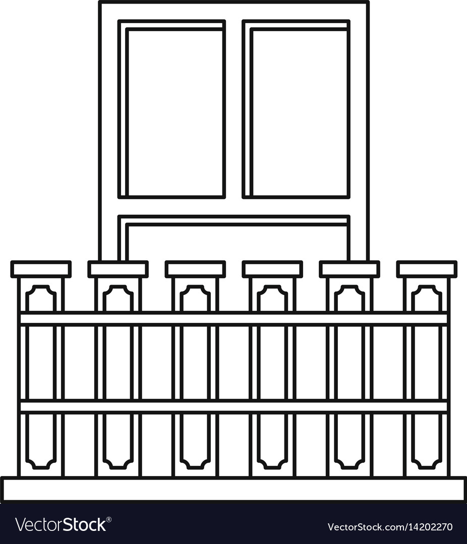 Balcony with iron railing icon outline style
