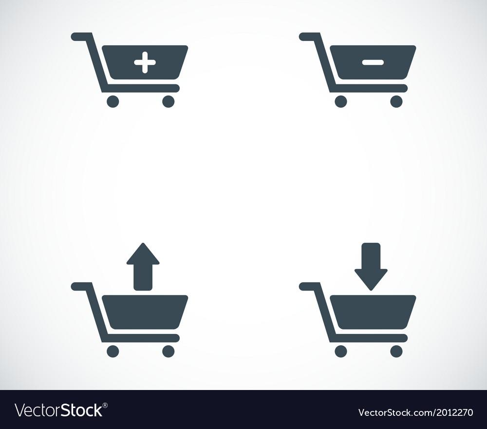 Black shopping cart icons set