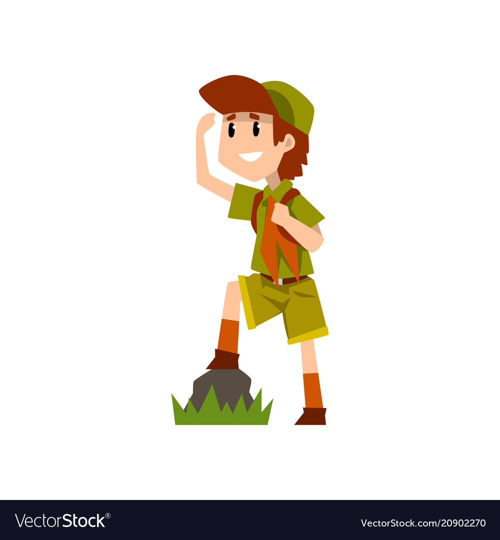 Boy scout character in uniform observing something