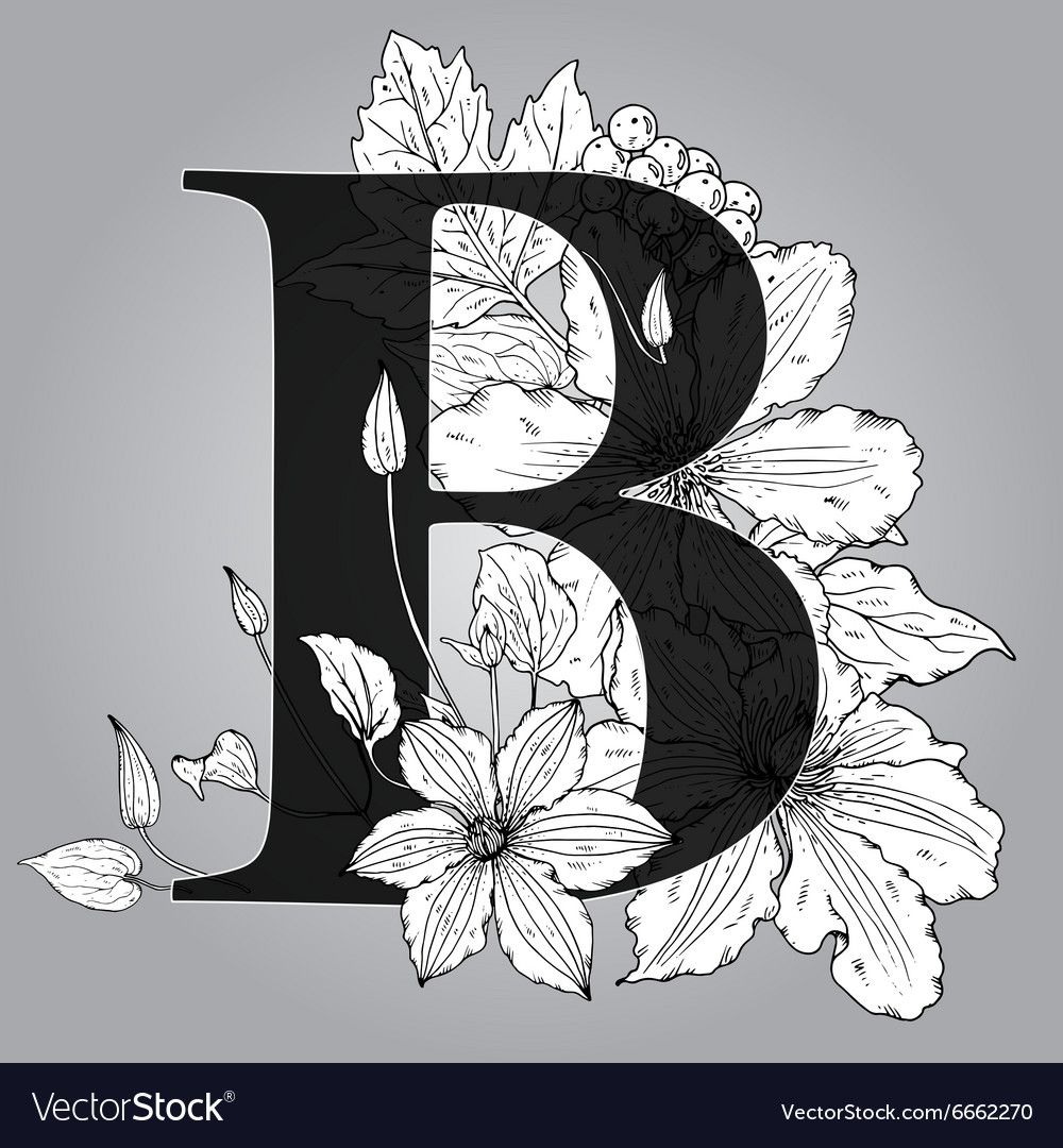 c9d92e702468 Capital Letter B floral monogram with hand drawn Vector Image