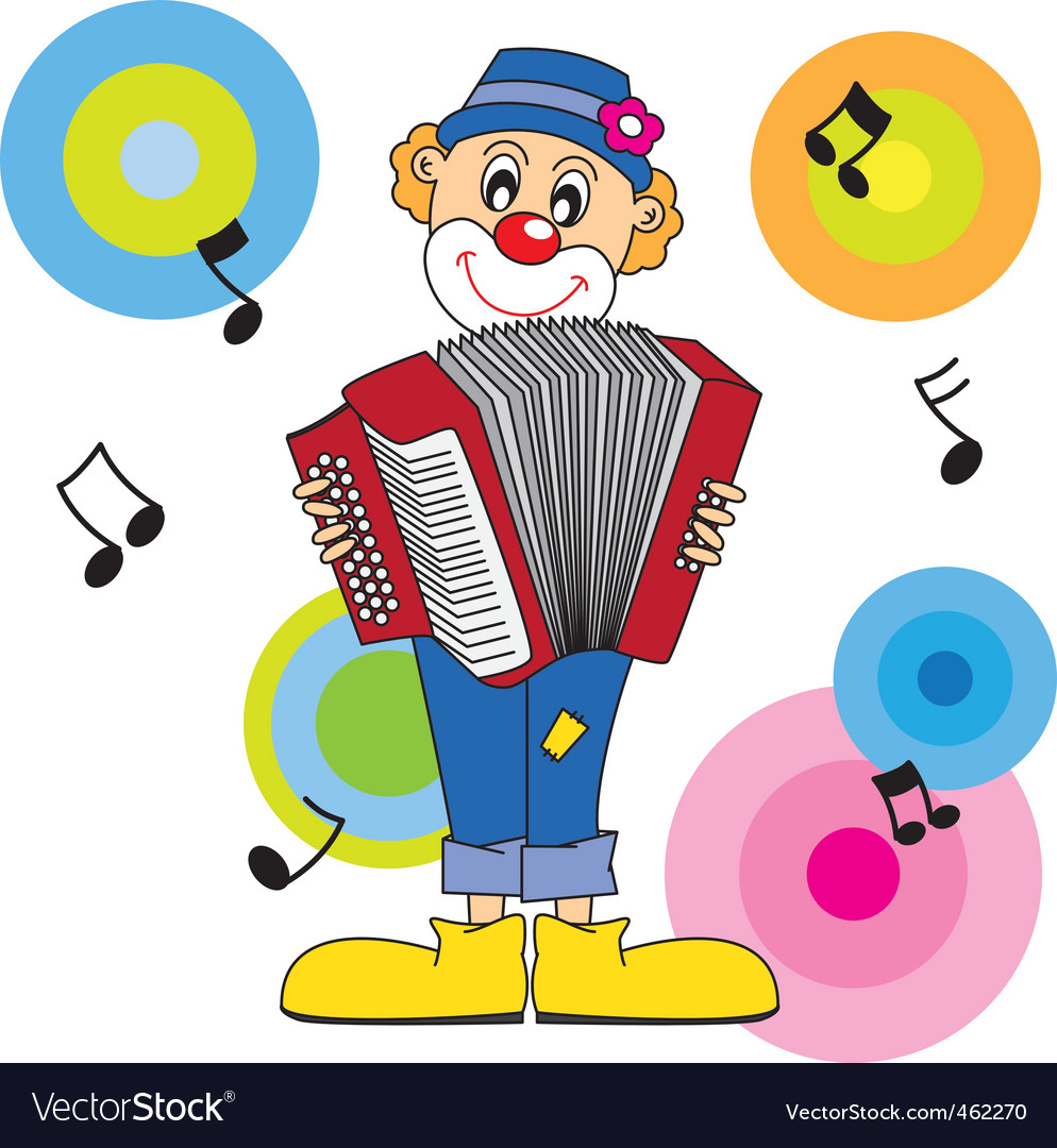 Clown music vector image