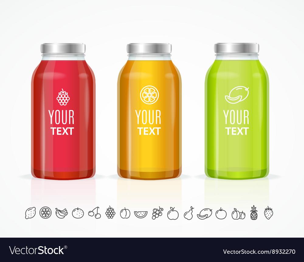 colorful juice bottle jar template set royalty free vector